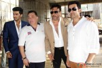 Arjun Kapoor, Rishi Kapoor, Jackie Shroff and Prithviraj Sukumaran during Aurangzeb's Press Meet at a Construction Site Pic 1