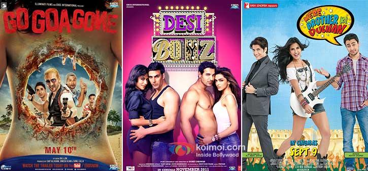 Go Goa Gone, Desi Boyz And Mere Brother Ki Dilhan Movie Poster