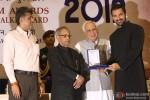 Pranab Mukherjee giving award to John Abraham