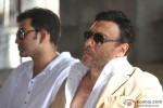 Prithviraj Sukumaran and Jackie Shroff during Aurangzeb's Press Meet at a Construction Site