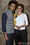 Riteish Deshmukh and Genelia D'Souza Deshmukh at Special Screening of 'Bombay Talkies'