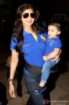 Shilpa Shetty snapped at Domestic Airport with family Pic 1