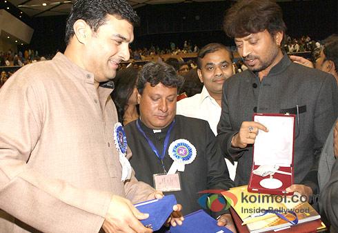 Siddharth Roy Kapur, Tigmanshu Dhulia And Irrfan Khan at the 60th National Film Awards 2012