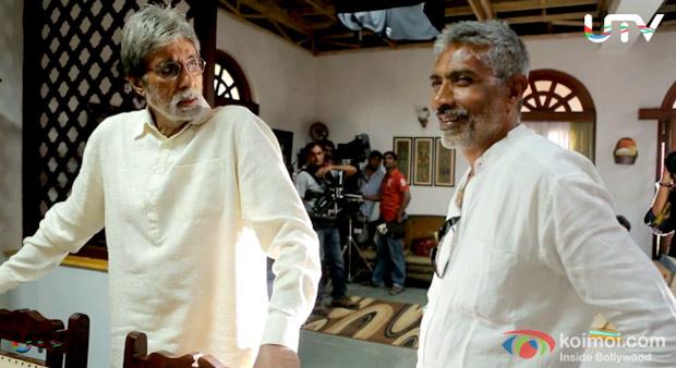 Amitabh Bachchan And Prakash Jha On The Sets of Satygraha