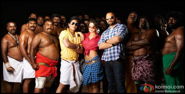 Shah Rukh Khan, Deepika Padukone and Rohit Shetty on the sets of Chennai Express