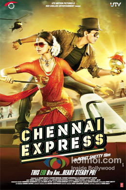 Deepika Padukone And Shah Rukh Khan in Chennai Express Movie Poster