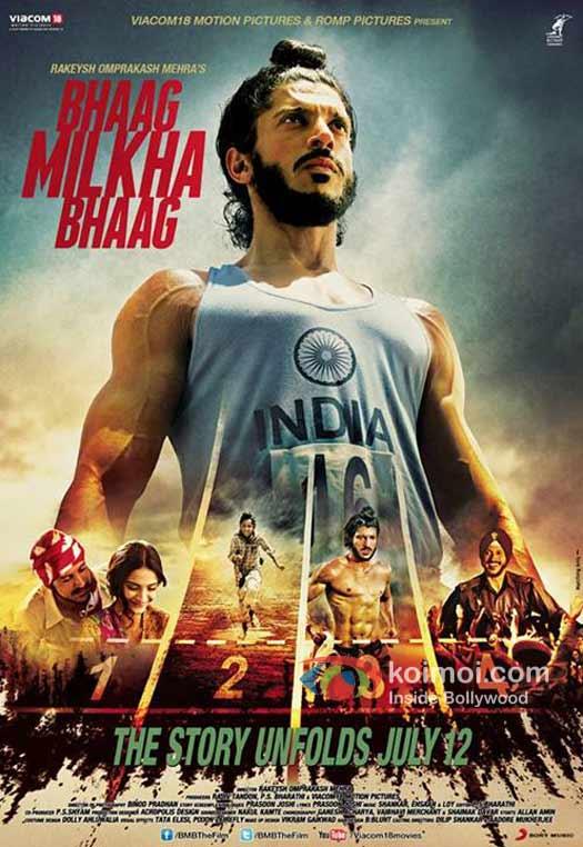 Farhan Akhtar in Bhaag Milkha Bhaag Movie Poster