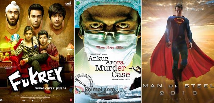 Fukrey, Ankur Arora Murder Case And-Man of Steel Movie Poster