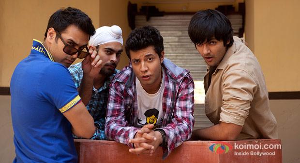 Pulkit Samrat, Manjot Singh, Varun Sharma And Ali Fazal in Fukrey Movie Stills
