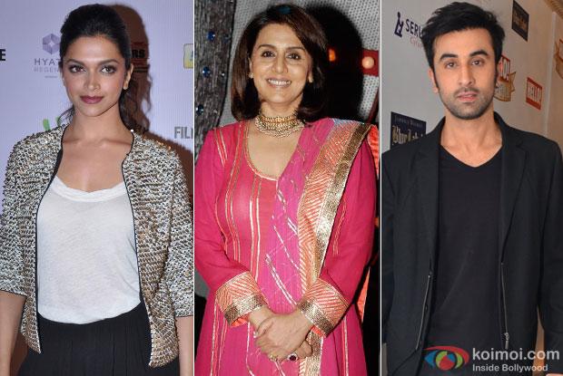 Deepika Padukone, Neetu Singh Kapoor and Ranbir Kapoor