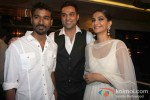 Dhanush, Sonam Kapoor And Abhay Deol at the success bash of 'Raanjhanaa' Pic 1