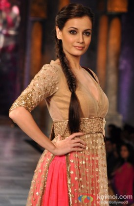 Dia Mirza walks the ramp at 'Mijwan-Sonnets in Fabric' fashion show
