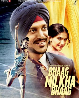 Farhan Akhtar And Sonam Kapoor in Bhaag Milkha Bhaag Movie Poster