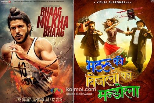 Farhan Akhtar in Bhaag Milkha Bhaag And Imran Khan Anushka Sharma And Pankaj Kapoor in Matru Ki Bijlee Ka Mandola Movie Posters
