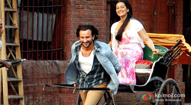 Saif Ali Khan and Sonakshi Sinha on the sets of Bullet Raja