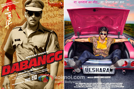 Salman Khan in Dabangg And Ranbir Kapoor Besharam Movie Poster