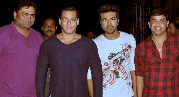 Vamsi Paidpally, Salman Khan, Ram Charan Teja and Producer Dil Raju