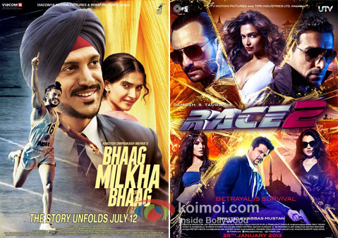 Bhaag Milkha Bhaag And Race 2 Movie Poster