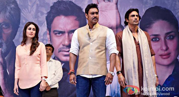 Kareena Kapoor, Ajay Devgn And Arjun Rampal in Satyagraha Movie Stills