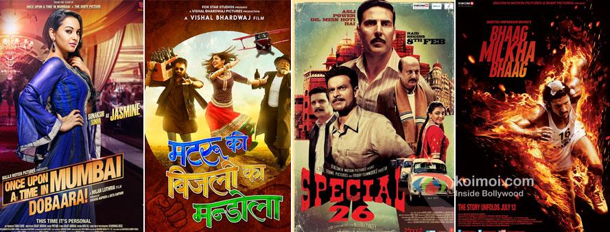 Once Upon A Time In Mumbaai Dobaara!, Matru Ki Bijlee Ka Mandola, Special Chabbis And Bhaag Milkha Bhaag Movie Posters