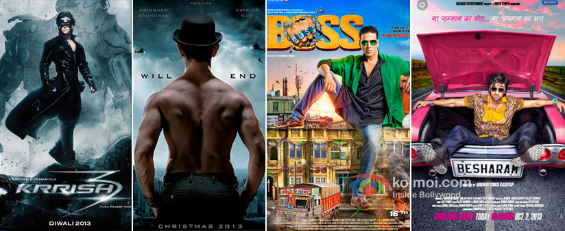 Krrish 3, Dhoom 3, Boss And Besharam Movie Posters