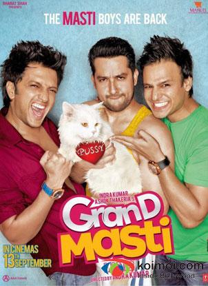 Riteish Deshmukh, Aftab Shivdasani And Vivek Oberoi in Grand Masti Movie Review (Riteish Deshmukh, Aftab Shivdasani And Vivek Oberoi in Grand Masti Movie Poster)