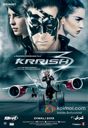 Priyanka Chopra, Hrithik Roshan and Kangana Ranaut in a Krrish 3 Movie Poster