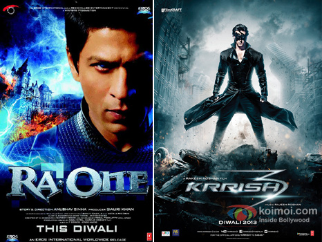 Ra.one and Krrish 3 movie poster