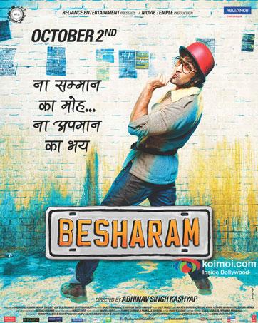 Ranbir Kapoor in a Besharam movie poster