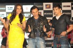 Sonakshi Sinha, Saif Ali Khan and Jimmy Shergill during the press conference of film 'Bullett Raja'