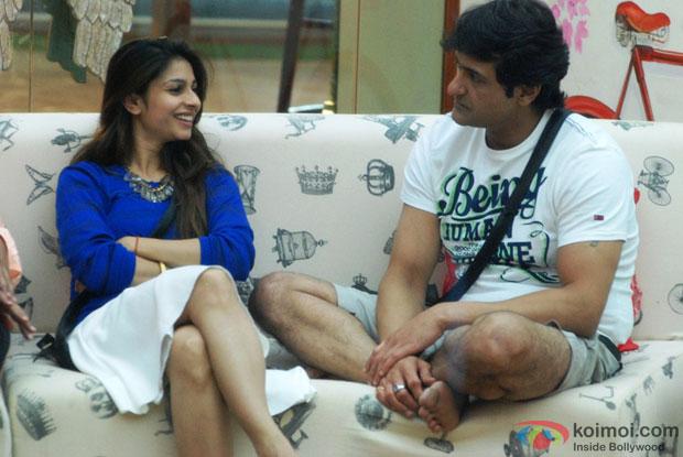 Tanishaa Mukherji and Armaan Kohli on the sets of Bigg Boss 7