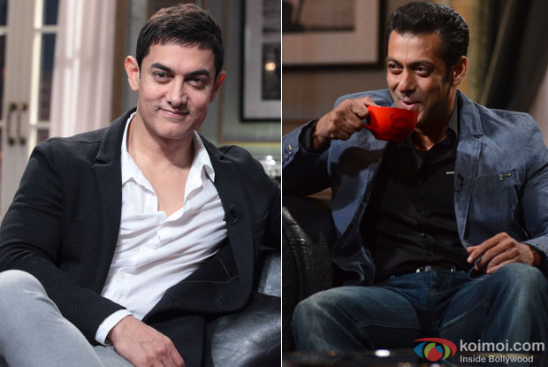 Aamir Khan and Salman Khan on the sets of 'Koffee With Karan'