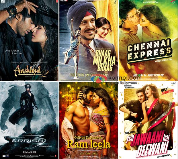Aashiqui 2, Bhaag Milkha Bhaag, Chennai Express, Krrish 3, Ramleela and Yeh Jaawani Hai Deewani Movie Poster