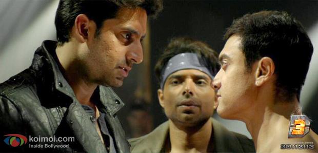 Abhishek Bachchan, Uday Chopra and Aamir Khan in a still from Dhoom 3