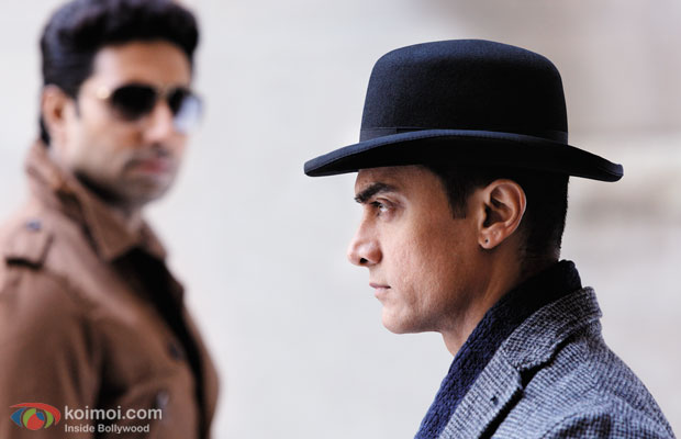 Abhishek Bachchan and Aamir Khan in a still from Dhoom 3
