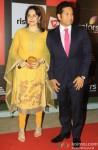 Anjali Tendulkar and Sachin Tendulkar during the launch of Celebrity Cricket League (CCL) Season 4