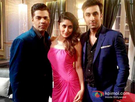 Kareena Kapoor and Ranbir Kapoor with Karan Johar on the sets of 'Koffee With Karan Season 4'