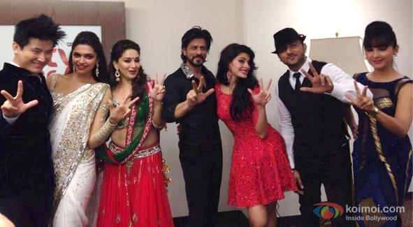 Meiyang Chang, Deepika Padukone, Madhuri Dixit, Shah Rukh Khan, Jacqueline Fernandez and Honey Singh at during Dubai concert