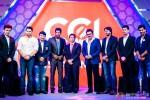 Riteish Deshmukh, Aftab Shivdasani, Manoj Tiwari, Sachin Tendulkar, Daggubati Venkatesh and Sudeep during the launch of Celebrity Cricket League (CCL) Season 4