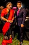 Usha Uthup and Sachin Tendulkar during the launch of Celebrity Cricket League (CCL) Season 4