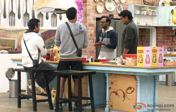 VJ Andy, Armaan Kohli, Ajaz Khan and Sangram Singh in Bigg Boss 7