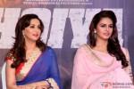 Madhuri Dixit and Huma Qureshi during the music launch of 'Dedh Ishqiya'