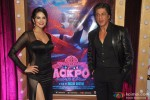 Sunny Leone and Shah Rukh Khan during the premiere of film 'Jackpot'