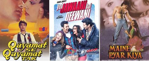Qayamat Se Qayamat Tak, Yeh Jawaani Hai deewani and Maine Pyaar Kiya Movie Poster