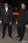 Amitabh Bachchan and Abhishek Bachchan at singer Raghav Sachar's wedding reception