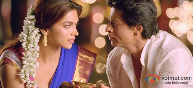Deepika Padukone and Shah Rukh Khan in a still Chennai Express