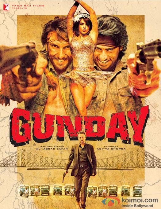 Ranveer Singh, Priyanka Chopra, Arjun Kapoor and Irrfan Khan in a Gunday Movie Poster