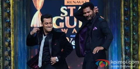 Salman Khan and Prabhu Dheva on the sets of Star Guild Awards