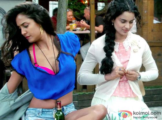 Lisa Haydon and Kangana Ranaut in a 'O Gujariya' song still from 'Queen'