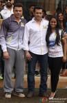 Sohail Khan, Salman Khan and Arpita Khan promote 'Jai Ho' at CCL Match